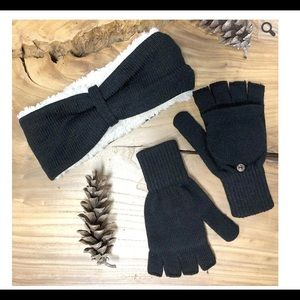 Bearpaw headband and convertible mitten set